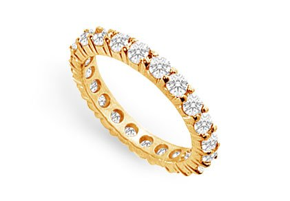 CZ Eternity Wedding Band Prong Set in 18K Yellow Gold Vermeil Silver 2.50 CT TGW
