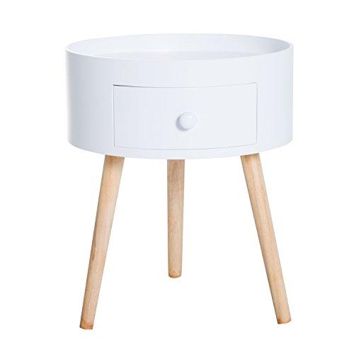 Homcom Chevet Table de Nuit Ronde Design scandinave tiroir Bicolore Pieds effilés inclinés Bois Massif chêne Clair Blanc 63