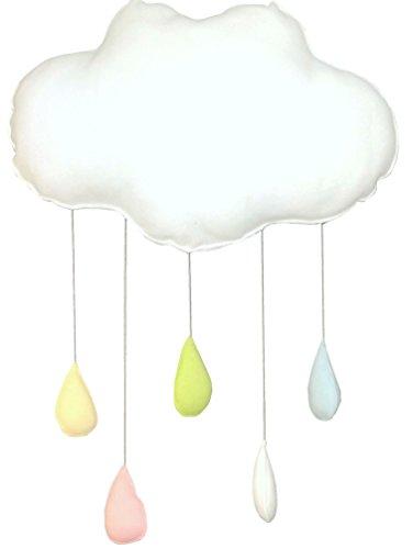 Babymajawelt® CLOUD Wolke Regenbogentropfen, Baby Mobile, Wand Dekoration Kinderzimmer Babykissen Deko zum Aufhängen