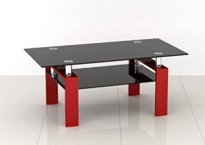 Rectangular Black Glass Coffee Table with Red Legs