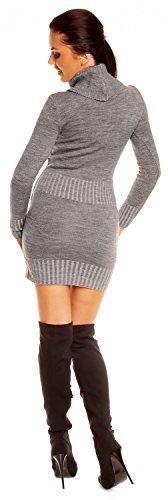 Zeta Ville - Damen Strick-kleid mit Rollkragen Minikleid Mit Tasche vorne 178z Grau