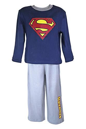 DC Comics Superman Langärmelige Schlafanzug Nachtwäsche in 2 Farben und 5 Größen (Alter 4, Navy Blue/Grey)