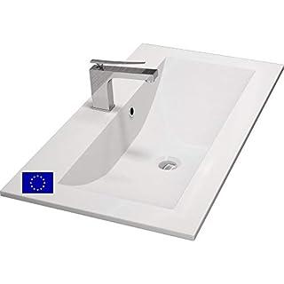 Einbau-Waschbecken 80x45x15cm eckig   80cm Einbau-Waschtisch zum einlassen in eine Platte   Material: hochwertiges Mineralguss   Qualität MADE IN EU