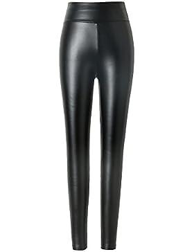 Damen kunstleder leggings Hitueu High Waist Leggings Hose Strumpfhosen Treggins Leggins Kunstleder Leggings Leder...