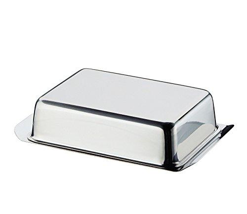 Cilio Butterdose, Edelstahl, Silber, 16 x 9,5 x 4,8 cm
