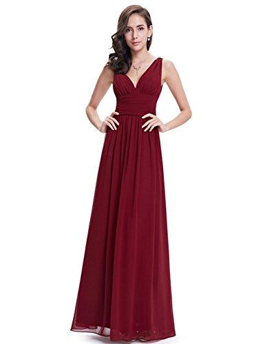 Ever Pretty Damen V-Ausschnitt Lange Chiffon Abendkleider Festkleider 40 Burgundy
