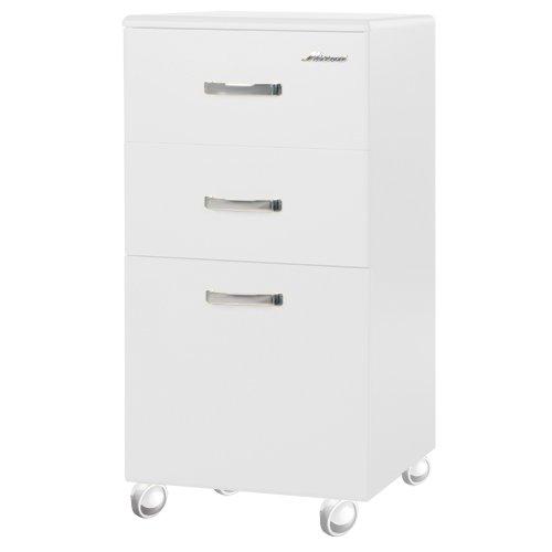 Miami 805705WE Rollcontainer mit 2 Schubladen und 1 Tür, Holz, weiß, 40 x 36 x 70 cm
