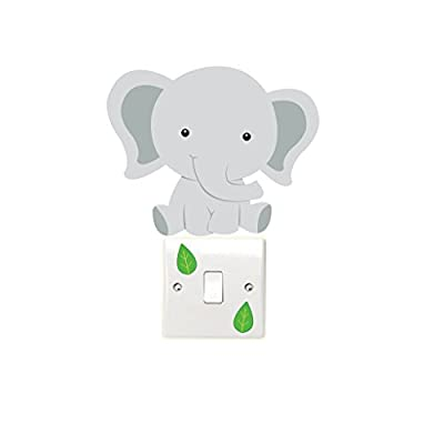Elephant and Leaves Light Switch Wall Sticker Children's Bedroom Playroom Fun Adhesive Vinyl - cheap UK light shop.
