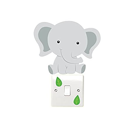 Elephant and Leaves Light Switch Wall Sticker Children's Bedroom Playroom Fun Adhesive Vinyl