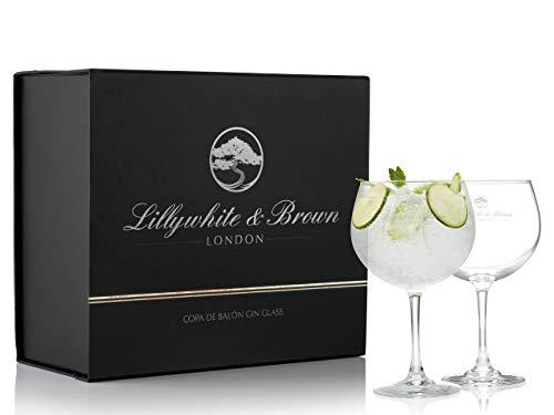 Premium Gin Gläser von Lillywhite & Brown - Großes Cocktail, Wein oder G&T Ballon-Glas - Set von 2 – 680ml