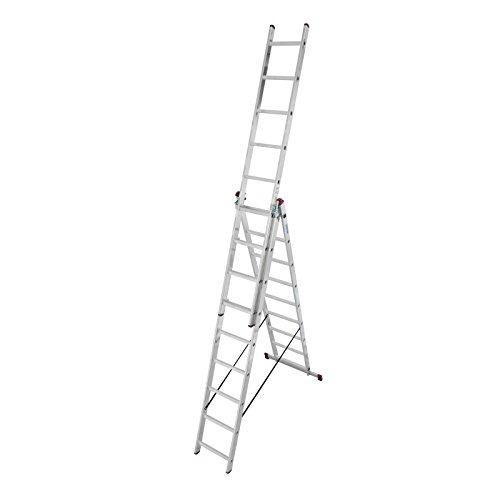 KRAUSE Corda Alu VielzweckLeiter 3x7 3x9 3x11 Sprossen Stehleiter Schiebeleiter, Sprossenzahl:3 x 9 Sprossen (Vielzweckleiter)