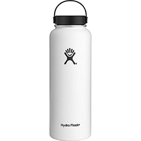 Bouteille Hydro Flask 95cl, capacité de 946ml, goulot large, Wide Mouth, blanc