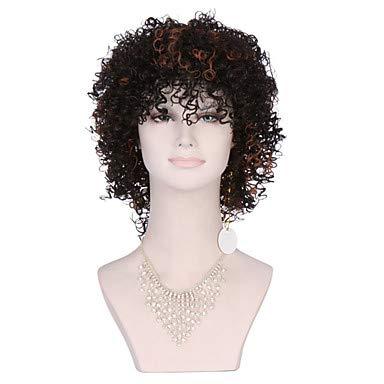 FUHOAHDD heiße Afro verworrene lockige Perücken synthetische hitzebeständige billig Perücken synthetische für Schwarze Frauen, Black/medium Browm (Afro Perücken Billig)