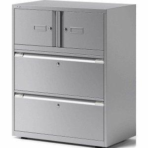 Bisley Kombischrank Essentials 2 Türen 2 Schubladen BxTxH 80x47x101,5cm Silber