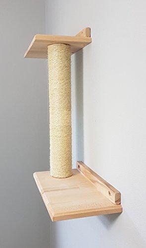 Katzen Wandpark, handgefertigte Tiermöbel / Luxusmöbel, Katzenmöbel in vielen Ausführungen, Wandkratzbaum / Doppelplattform Wand. Hier: Doppelbrett Katzsäule (W2)