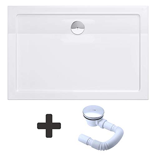 Sogood Duschtasse Duschwanne Faro2W 90x140x4 flach inkl. Ablaufgarnitur aus Acryl in Weiß Rechteckig DIN-Anschlüsse für bodenebene Montage geeignet