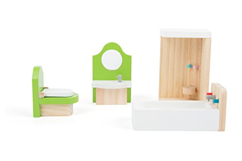 Small Foot 10872 Puppenmöbel aus Holz für Das Badezimmer im Puppenhaus, inkl. Waschtisch, Badewanne, Dusche und Toilette, geeignet für Biegepüppchen, Ideales Puppenzubehör für Kinder ab 3 Jahren