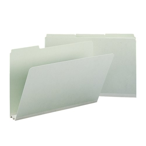 RECYCLED FOLDERS  TWO INCH EXPANSION  1/3 TOP TAB  LEGAL  GRAY GREEN  25/BOX