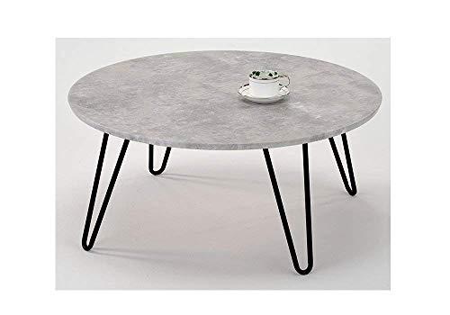 Meubletmoi Couchtisch, rund, Metallfuß, Vintage, Beton-Effekt, moderner Industrie-Stil, Luna 90 -