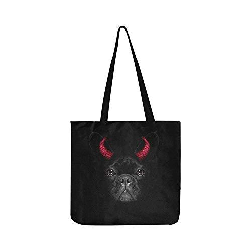 Halloween Hexe Französisch Bulldog Dog Dressed Canvas Tote Handtasche Umhängetasche Crossbody Taschen Geldbörsen Für Männer Und Frauen Einkaufstasche
