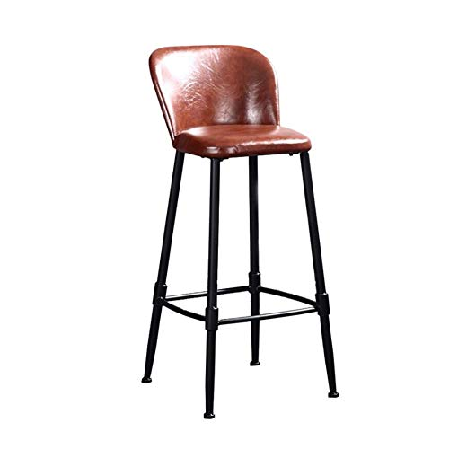- Brown-leder-counter (ZWYSL Barhocker PU Leder Esszimmerstuhl Industrie Wind Eisen Kunst Freizeit Hochstühle Counter Stool (Color : Brown, Size : 43x45x80cm))