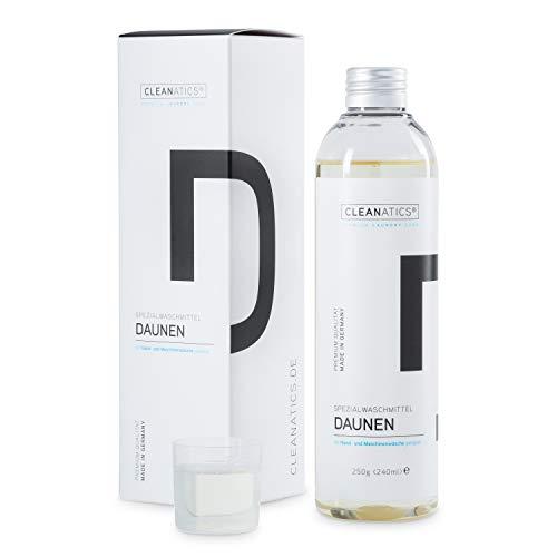 CLEANATICS Daunenwaschmittel Konzentrat mit Lanolin für Daunenjacke, Daunenweste, Daunendecke, Daunenkissen & Daunenbettdecke - für voluminöse Daunen & Federn mit angenehm frischem Duft (250 g)