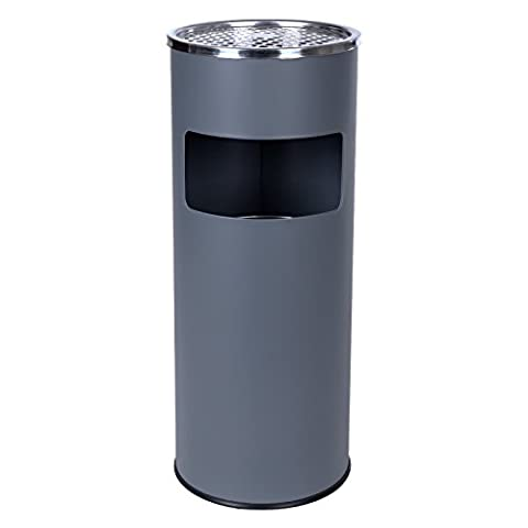 Songmics Standing Ashtray Rubbish Bin with Inner Bucket Outdoor Stainless Steel Gray 60.5 x 24.5 cm LTB17G
