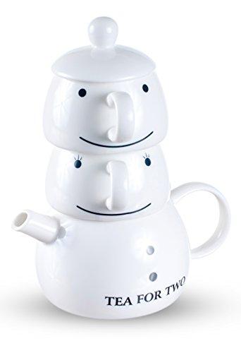 Tea For Two Teekanne mit zwei Teetassen Set Schneemann aus Porzellan