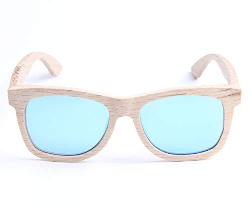 LY4U de madera para hombre y gafas de sol para mujer, gafas Vintage, gafas de sol flotantes con caja de bambú (Azul Nuevo)