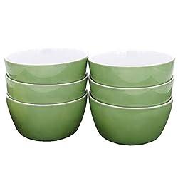 Kahla 39G107A69358C Wildblume Schalen Set grün ohne Dekor 6-teilig 14 cm rund Müslischüssel für 6 Personen Porzellan Suppenschüssel EIS Salat