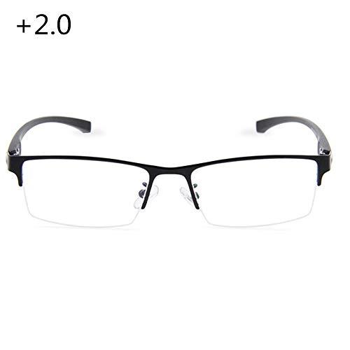 Photochrome Lesebrille, multifokale Dioptrien-Gleitsichtbrille, komfortables Federscharnier-Lesegerät (+1,0 bis +3,0), 2,0