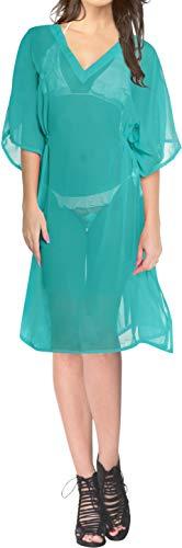 en Chiffon Kaftan Frauen Strand Teal vertuschen Badebekleidung Strand-Bikini-Vertuschung Tunika StrabdKleid Kaftan Cover up ()