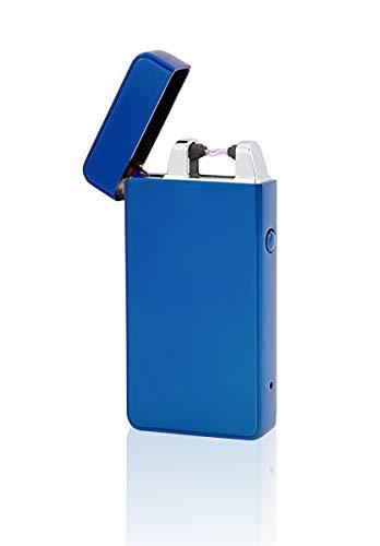 TESLA Lighter T01 | Lichtbogen Feuerzeug, Plasma Single-Arc, elektronisch wiederaufladbar, aufladbar mit Strom per USB, ohne Gas und Benzin, mit Ladekabel, in Edler Geschenkverpackung, Blau