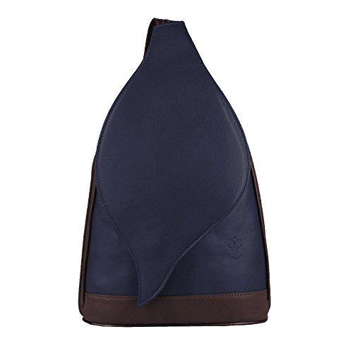 OBC Made in Italy Damen echt Leder Rucksack Lederrucksack Tasche Schultertasche Ledertasche Nappaleder Handtasche (Dunkelblau-Braun 17x28x9)
