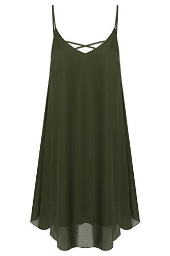 CRAVOG 2016 Mode Robe Mini Plage A Bretelles Fines En Mousseline De Soie Sans Manches Plissage Casual Sundress Femme été Vert armée