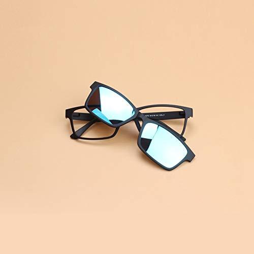 LKVNHP Herren Polarisierte Sonnenbrille Magnetclip Auf Doppel Objektiv Sonnenbrille Männer Frauen Platz Optische Gläser Rahmen Brillen BrillenBlau