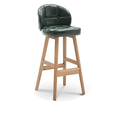 chair Barhocker, Home High-Hocker, Moderner Minimalistischer Barstuhl, Massivholz-Barhocker, Rückenlehne Kreativer Barstuhl,Dunkelgrünes Öl,Log
