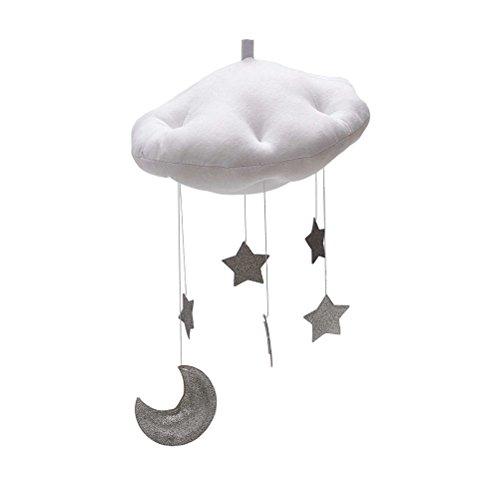 YeahiBaby Baby Mobile Bett Mobile Weiße Wolken Silber Mond Sterne Decke Hängen Kinderzimmer Dekoration (Weiß Baby-mobile,)