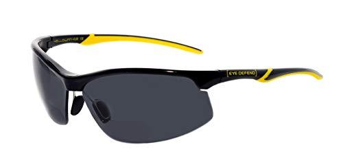 rainbow safety Sonnenbrille mit Lesehilfe Bifokal Sportbrille mit Leseteil für Radler Baseball Laufen Angeln Nachtsicht Schutzbrille Kontrastbrille (YEL BLK-SMK+2.50D)