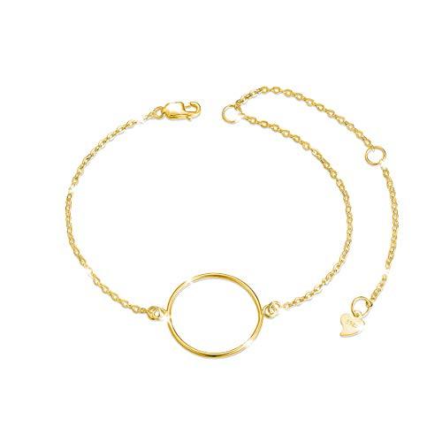 SHEGRACE Bracciale Donna Puro Argento 925Sterling Catena Semplice con Ornamento Cerchio Anello Gioielli per Donna 160