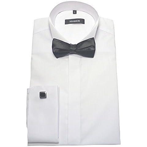 HUBER 1021 Camicia per smoking bianco Polsini Sera Camicia con Papillon nero S fino 5XL vestibilità