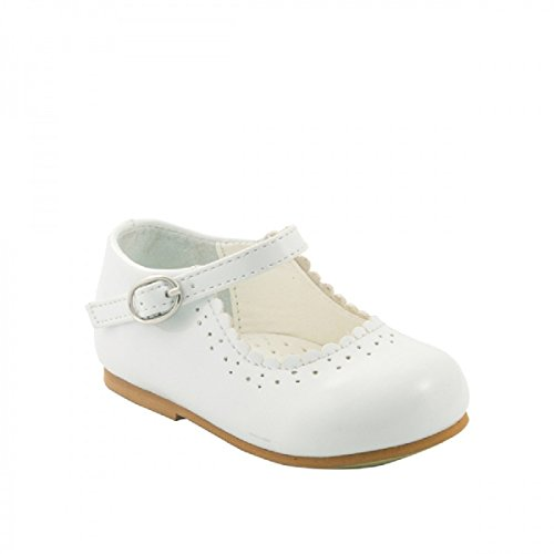 Infant Girls Spanish Style Christening Wedding Party Walkiing Shoes (Infant Size 5, White )