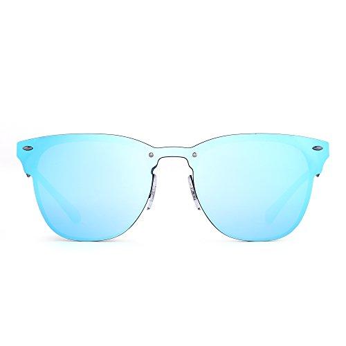JIM HALO Randlos Sonnenbrille Ein Stück Hörnern mit Rand Metall Gespiegelt Damen Herren(Schwarz/Spiegel Blau)