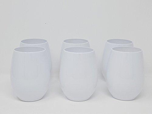 Set von 6Weingläser ohne Stiel Kunststoff Kelche/Weingläser–Weiß–12oz (340ml)