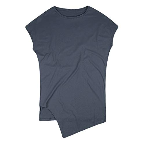 MOIKA Herren Tank Top, Muskelshirt Tankshirt T-Shirt Unterhemden Tanzweste, Herren Sommer Lässige Mode Europäischen Stil Unregelmäßiger Rand Sport Weste Top Bluse
