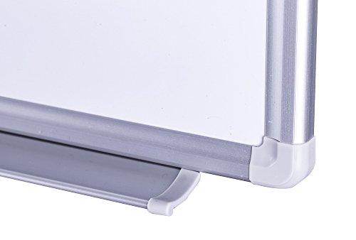 Whiteboard Magnettafel mit Alurahmen und durchgehender Stiftablage, in 9 Größen, schutzlackiert magnethaftend, mit Montagematerial und gratis Zubehör (Stifte,Schwämme,Magnete), Größe:120x90 cm -