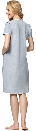 Italian Fashion IF Damen Stillnachthemd Ursula 0114 Melange/Pistazie