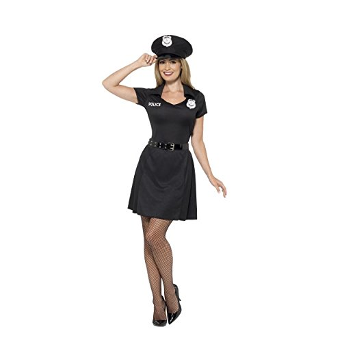 (Womens Sexy Special Constable Fancy Dress Uniform Costume, Black, with Dress, Hat & Belt & FREE Squeaking Truncheon Hen Do/Carnival/Festival/Fun Run/Party Fun 45505,23918 (UK Dress 16-18 (L)))