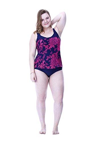 SHISHANG Frau Bikini Körper Badeanzug Europa und den Vereinigten Staaten großen Badeanzug Körperfett MM sammeln hohe Elastizität des Umweltschutzes zhangs blue + apricot