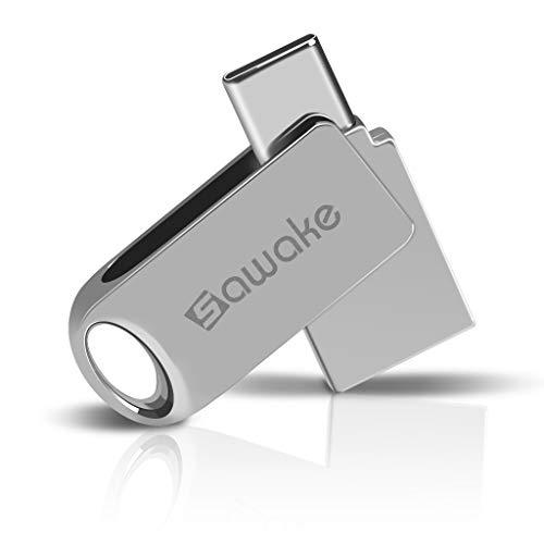 USB Stick 32GB USB-A 3.0&USB Type-C, SAWAKE Flash Memory Stick, Metall Wasserdicht Speicherstick mit Schlüsselring, Geschenk für PC/Laptop/Notebook/Typ-C Mobiltelefon/Büro/Kinder/Home - Silber